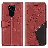 SUMIXON Hülle für Xiaomi Redmi Note 9 / Redmi 10X 4G, PU Leder Brieftasche Schutzhülle für Xiaomi Redmi Note 9 / Redmi 10X 4G, Kratzfestes Handyhülle mit Kartenfächern & Standfunktion, Rot
