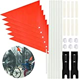 Aodaer 2 Set Bicycle Safety Flag 6 Ft Bike Safety Flag with Pole 6 Piece Waterproof Safety Flag Adjustable Height Fiberglass Pole Polyester Full Color Waterproof Safety Flag (Orange)