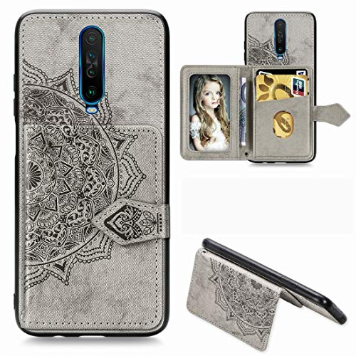 JIAHENG Phone Case For Xiaomi Redmi K30 Mandala Embossed Magnetic Cloth PU + TPU + PC Case with Holder & Card Slots & Wallet & Photo Frame & Strap PU Leather Cover Shell (Color : Gray)