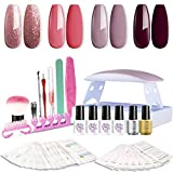 Sexy Mix Gel Nail Polish Kit with Nail Light, Soak Off Gel Nail Polish 4 Colors 7ml, with 6W Portable Mini Nail Lamp, Base and Top Coat, DIY Manicure Gel Nail Kit for Starter