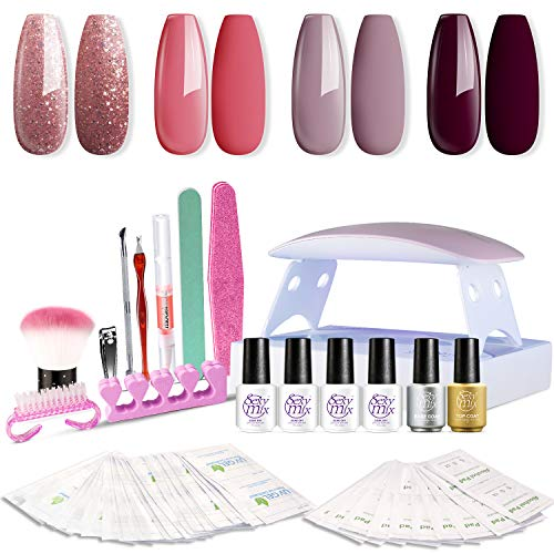 SEXY MIX Gel Nail Polish Kit with UV LED Light, Home Gel Nail Polish Kit Manicure Tools 4 Colors Gel...