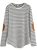 Milumia Women's Elbow Patch Striped High Low Top T-Shirt Black and White Small