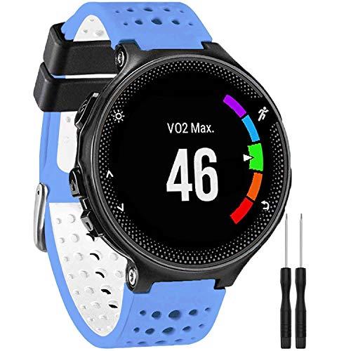 GVangel - Cinturino di ricambio per smartwatch Garmin Forerunner 235, in morbido silicone, adatto per smartwatch da donna e uomo 220/230/235/620/630/735XT/235 Lite, colore: Blu/Bianco
