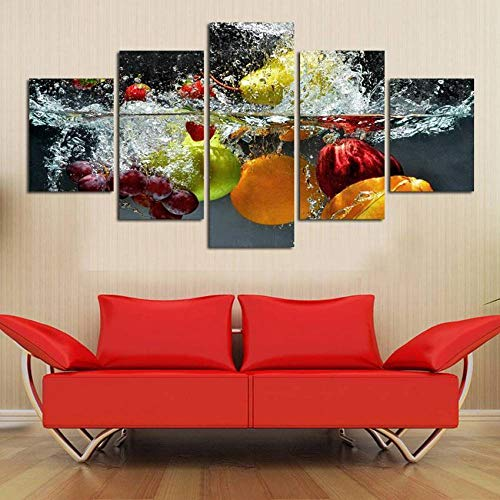 RuiYa Wall Art marco 5 pared lona pintura 200x100cm Color fruta manzana fresa uva Cartel Impresión pintura artísticas de alta definición Póster arte de pared cuadro paneles modulares foto arte en vivo