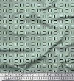 Soimoi Grün Samt Stoff geometrisch klein Stoff drucken 1