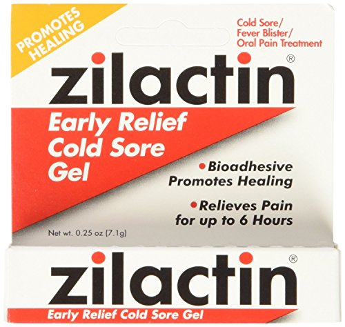 Zilactin Cold Sore Gel, Medicated Gel, 2 Count