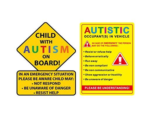 eDesign 2-Pack Child with Autism Alert Responders and Autistic Occupant in Vehicle Stickers Decals for Car Truck Van SUV Window Wall Cup Tumblers Laptop