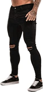 Nansiche Mens Skinny Stretch Denim Pants Distressed Ripped Freyed Slim Fit Jeans Trousers Black