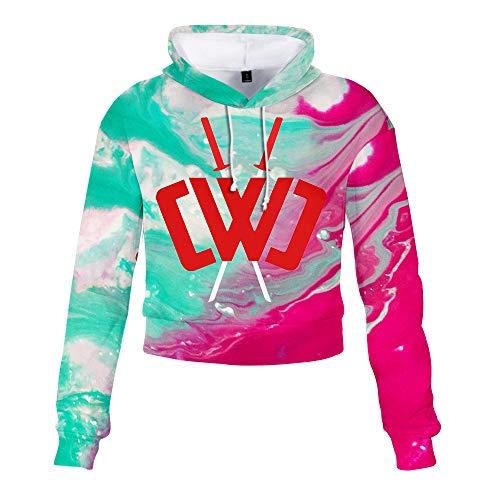 ACBANANA Womens Letter Print Long Sleeve Crop Top Sweatshirt Hoodies Chad Wild Clay Hoodie Cwc Casual Top