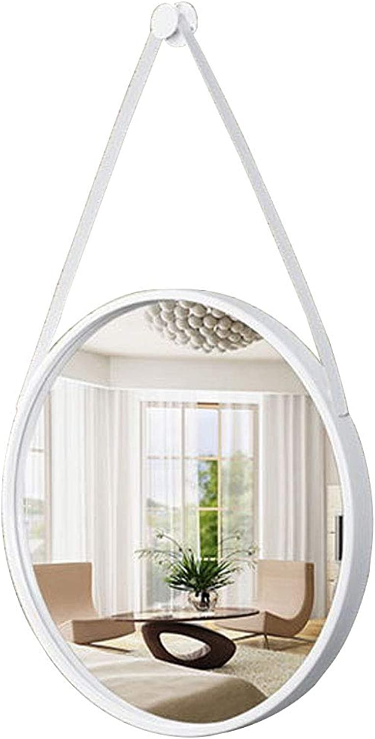 11.8-31.5 Inch Round Bathroom Wall Mount Mirror with Hanging Strap White Metal Frame Decoration Mirror for Bedroom Makeup Living Room Hallway
