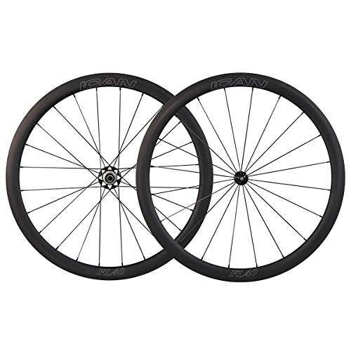 ICAN FL40 Ruote da corsa in carbonio - per copertoncino con cerchio TLR (tubeless ready) - profilo 40mm - raggi Sapim diritti -con 2:1 raggi 1398g
