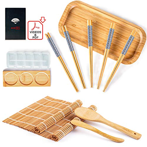 Bochee Kit Sushi 14 Pcs, Kit de Préparation de Sushi avec un Coffret Cadeau – des Tutoriels Vidéo et Ebook, 2 Natte Bambou pour Sushi, Appareil a Sushi, 5 X Baguettes, Plat de Service, Assiette