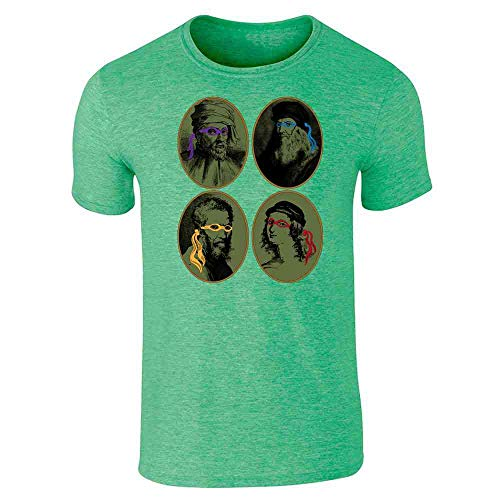 Italian Renaissance Ninja Artists Parody Funny Heather Irish Green 3XL Graphic Tee T-Shirt for Men