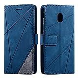 Funda para Galaxy J3 2017, Flip Folio Libro Cartera Carcasa para Galaxy J3 2017 Cáscara de TPU, con Cierre Magnético, Ranura para Tarjeta, Azul