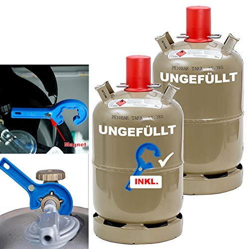 CAGO 2 x Camping Propan-Gas-Flasche 11kg grau leer Neuflasche Eigentumsflasche für Gasgrill, Gaskocher, Gasofen INKL Gasregler-Schlüssel mit Magnet