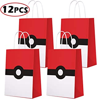 Game Theme Birthday Party Paper Gift Bags for Pokemon Party Supplies Birthday Party Decorations - Party Favor Goody Treat Candy Bags for Nintendo Game Kids Adults Birthday Party Decor- 12 PCS
