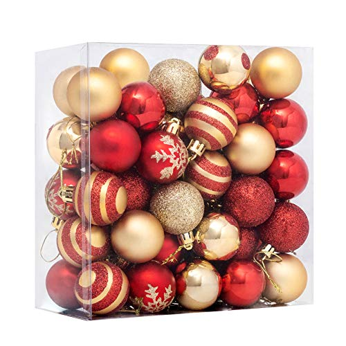 FUNARTY 50ct Christmas Ball Ornaments Shatterproof Christmas Tree Balls Decorations Small 40mm/1.57' for Tree Holiday Wedding Party Decorations (Red and Gold)