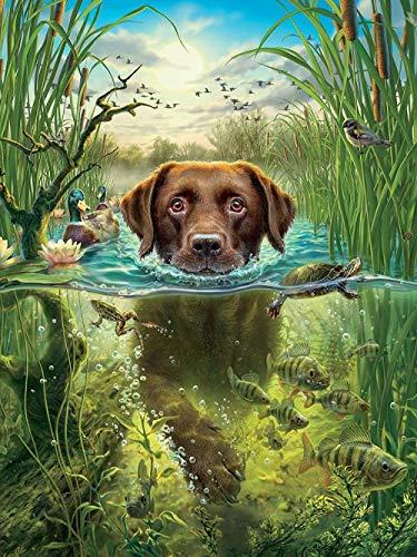 SDHJMT Schwimmender Hund Das Holzpuzzle 1000 Teile Puzzle Erwachsene Kinder Lernspielzeug