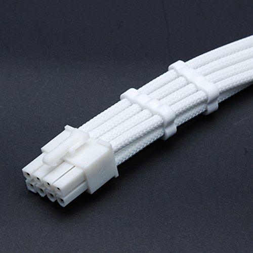 Shakmods - Cable alargador de 8 pines ATX para CPU, color blanco con conector blanco y 2 peines de cable blanco de 30 cm