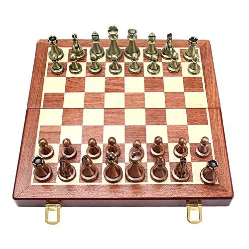 TaoHaoHuo Juego de ajedrez International Chess Alloy Walnut Chess Set Toy pedagógico entrenamiento cerebral plegable juego de mesa para niños de alta gama de regalo de aprendizaje