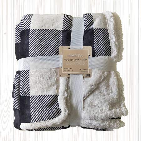 Manta de Coralina de Cuadros 130x160 cm para Sofá, Microseda, Borreguito, Suave, Extra Confort (Blanco/Negro)