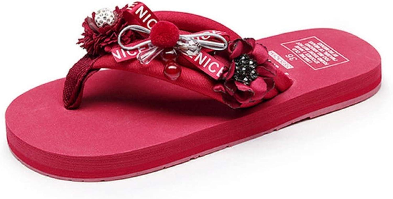 T-JULY Women Fashion Design Flowers Beach Slippers Flip Flops Outside Flat Sandals Female Floral Flats Summer Slippers