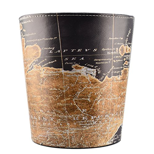 Searchyou - Papierkorb, 10 Liter Leder Vintage Retro Mülleimer Abfalleimer für Büro, Küche, Schlafzimmer, Wohnzimmer, Kinderzimmer - (Weltkarte B)