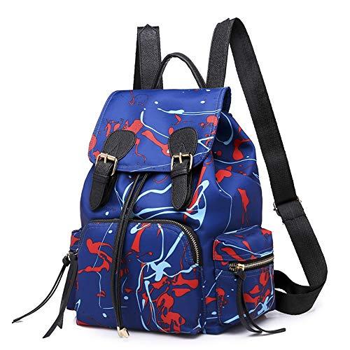 New Backpack-ladies Nylon Graffiti Style Handbag, EBay Backpack (Color : Blue)