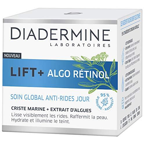 Diadermine - Lift+ Algo Retinol - Crème Visage Soin de Jour Gobal Anti-Rides - Criste Marine et Extrait d'Algues - Hydrate et Illumine le teint - 95% d'ingrédients d'origine naturelle - Pot de 50ml