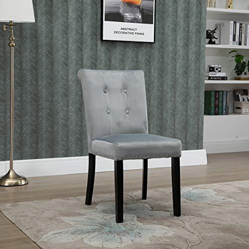 KEEPREAPER Esszimmerstuhl Grau Samt Küchenstühle Polsterstuhl Design Stuhl mit Armlehne, mit Sitzfläche aus Samt, Gestell aus Holz, Schwarze Beine (Gray*1)