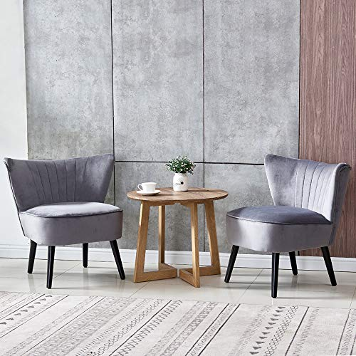 BonChoice Set of 2 Grey Velvet Occasional Accent Chair with Surround Wingback for Living Room Bedroom, Modern Upholstered Lounge Sofa Chair Armless with Wood Legs