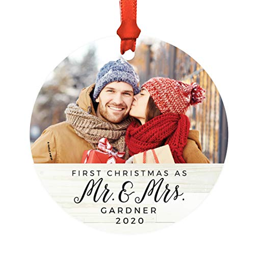 Andaz Press Photo Personalized Metal Christmas Ornament, Wedding, First Christmas as Mr. and Mrs. 2021, Light Rustic Wood, 1-Pack, Includes Ribbon and Gift Bag, Custom Bride Groom Name Date