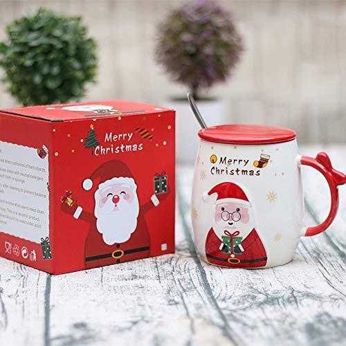 Weihnachtsgeschenkbecher mit Deckel und Löffel, WeihnachtsmannKeramikbecher