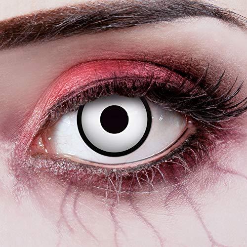 aricona Kontaktlinsen - weiße Kontaktlinsen mit schwarzem Rand - Kontaktlinsen Halloween ohne Stärke