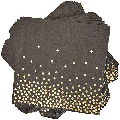 50 Pack gouden folie zwart servetten 6,5 x 6,5 inch gevouwen, 3-laags
