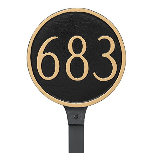 """Montague Metal Circle Address Sign Plaque with Lawn Stake, 6.5"""" x 6.5"""", Black/White"""