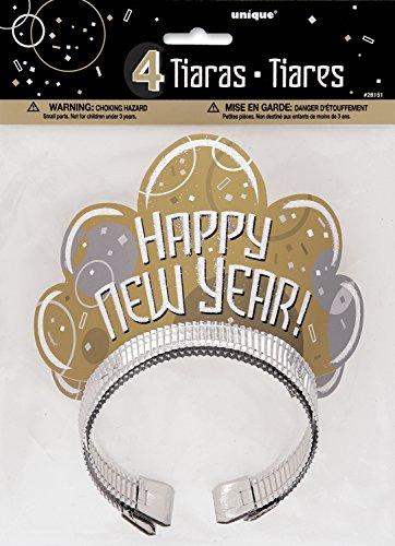 Unique Party - Sombreros de Fiesta de Tiara de Brillo de Nochevieja - Paquete de 4 (28151)