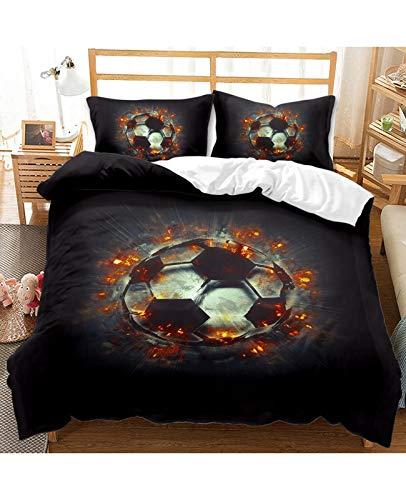GJX Duvet Cover Sets Soccer Bedding Cool 3D Football Print Duvet Cover Set For Boys Teens Comfortable Bed Sheet Set For Bedroom Decor(No Comforter No Fitted Sheet) Bedsure Bedding Pillow Sham