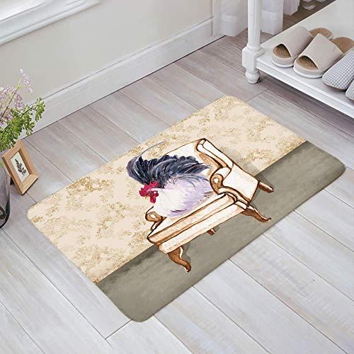 Teppich Teppiche Carpet Taracarpet Fußmatten-Bauernhof-Hahn, der auf Retro-Stuhl-Blumen-Weinlese-Hintergrund sitzt Vorleger 40X60CM