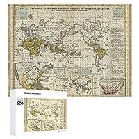 INOV 病気 世界地図 ジグソーパズル 木製パズル 500ピース キッズ 学習 認知 玩具 大人 ブレインティー 知育 puzzle (38 x 52 cm)