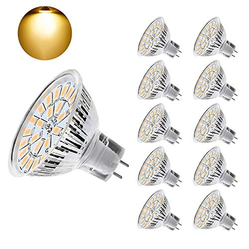 Eterbiz MR16 LED Lampen Birnen, Warmweiß, 5W GU5.3 LED Bulbs, ersetzt 50W Halogan Lampen, 450lm, 12V-24V AC/DC, 3000 Kelvin, 120 ° Abstrahlwinkel, 10er-Pack