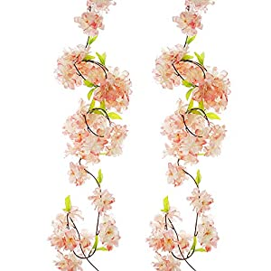 Artificial Cherry Blossom Vine Champagne Petal Flower Forever Plant Garland for Art Home Decoration Wedding Party Garden Office 2 Pack