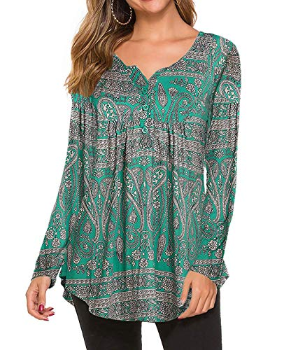 Women's Tunic Tops for Leggings Long Sleeve Shirt Plus Size Floral Blouse XXL, Dark Green