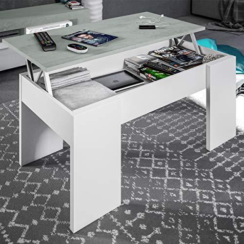 Tavolino da caffe' sollevabile 100 X 50 X 43 cm con rialzo salvaspazio soggiorno CEMENTO 0L1640A