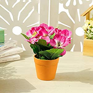 Silk Flower Arrangements Artificial and Dried flowerHome Office Ornament Pansy Bonsai (with Plastic Pots) Simulates Artificial Silk Flowers Potted Plants