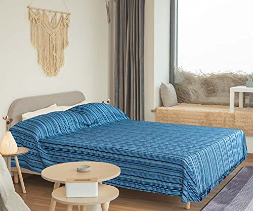 WECA FAMILY-Colcha Multiusos ,Plaid para sofá, Cama de 150-200, Liso, Rustico y Rayas. 200x270cm, Manta Multiuso Color Surtido. Algondón (230 X 270 CM, Azul Rayas)