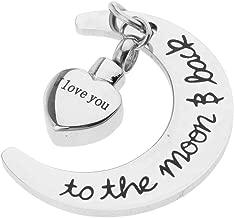 I Love You To The MoonBack Cremation Pendant Urn Pet Keepsake Moon Heart