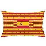 U Shape Funda de Almohada Bandera de España Funda de Almohada Decorativa Funda de Cojín Suave y Acogedora con Cremallera Oculta 20X30 Pulgadas
