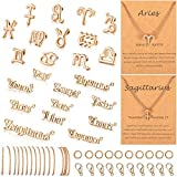 48 Pieces Twelve Constellations Theme Charm Set, Constellation Sign Letter Word Charm Pendants 12 Zodiac Charm Necklace Display Cards, 16.4 Feet Chain 20 Lobster Claps 200 Jump Rings (Gold)