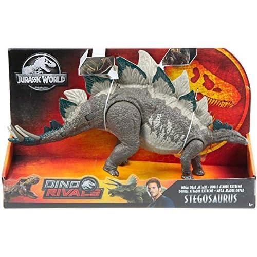 Jurassic World- Stegosauro Super Attacco Doppio Dinosauro Articolato, Giocattolo per Bambini 3+ Anni, GDL06